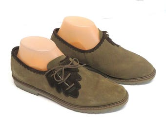 Womens Sz 7.5B Loafers Taupe/ Brown Suede Loafers/ Side Lacers /Walking Shoes