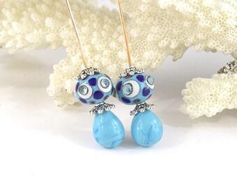 sra artisan lampwork glass headpins set flameworked pattylakinsmith patty Lakinsmith matched pairs blue white turquoise handmade