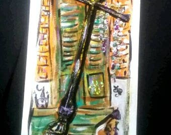 French Quarter Lamp post original mixed media by PeaceSwirl New Orleans artist