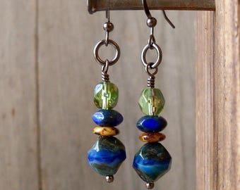 Boho Dangle Earrings - Gift for Her - Statement Earrings - Blue Earrings - Drop Earrings - Boho Earrings - Boho Jewelry - GB2017 Series