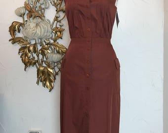 1980s dress cotton dress brown dress size medium vintage dress 28 waist dress with pockets cacharel dress button front dress 80s dress
