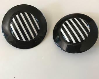 1980s earrings striped earrings plastic earrings huge earrings black and white Bakelite style earrings 80s does the 50s