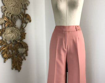1970s pants vintage pants high waist pants 30 waist peach pants wide leg pants vintage trousers styled by unzarra 33 inseam large