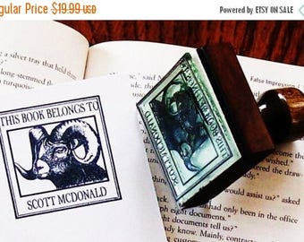 Super Summer Sale Custom Ram Ex Libris Library Stamp Rubber Stamp Add Your Name A10