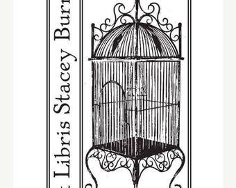 Super Summer Sale Custom Antique Bird Cage Ex Libris Bookplate Rubber Stamp C22