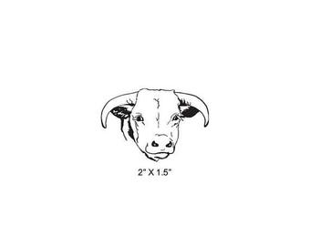 Xmas in July Longhorn Smiling Cow Portrait Rubber Stamp 483