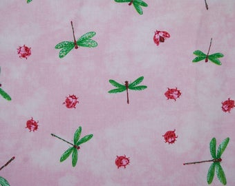 Pink Dragonfly Upholstery FABRIC Waverly cotton duck Lauren Hancock L.H. Fly Away