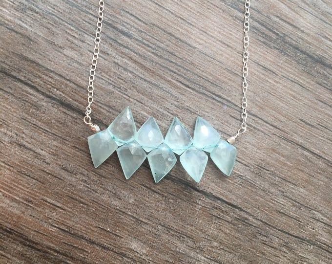 Unique Cut Aquamarine Faceted Bar Necklace Light Blue Kite