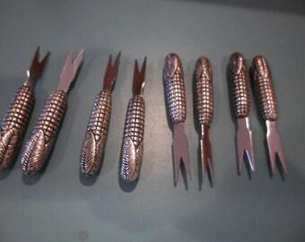8 vintage metal corn cob spikes/ skewer holders