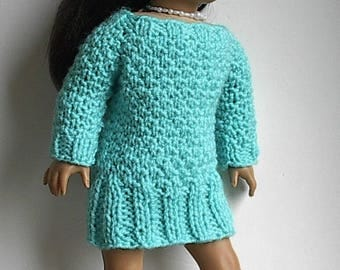 """18"""" Doll Knit Dress Tunic Long Sweater Handmade to fit American Girl and Similar Dolls - Doll Clothes Aquamarine Turquoise Blue Tunic Dress"""