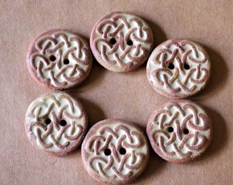 6 Handmade Ceramic Buttons - Celtic Knot Buttons Stoneware Buttons in Rustic Rust Glaze - Focal Buttons for Celtic Sweaters and Shawls