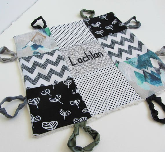 Baby Boy Lovey Personalized with Hand Embroidery ~ Choice of Backing Fabric ~ Black White Green ~Mountains Hearts Chevron ~Trending Baby Boy