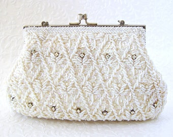 Chic Vintage White Beaded AB Rhinestone Sequin Purse Wedding Clutch Bridal Handbag Formal Cocktail Party Evening Bag Crown Colony Hong Kong