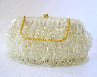 Vintage Ivory Yellow Chandelier Clutch Acrylic Crystal Fringe Evening Bag Beaded Purse Sequin Gold Frame Wedding Handbag Formal Hong Kong