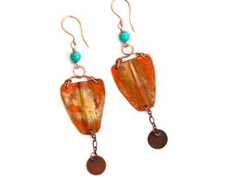 Fold Formed Copper Shield Earrings (E1274)