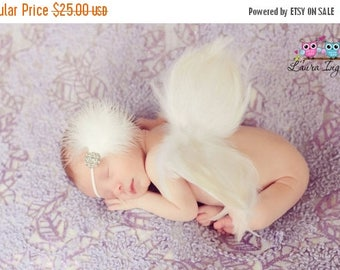 SUMMER SALE 20% OFF Handmade Angel Wings Baby Photo Prop - White Feather Angel Wings Fully Poseable for Newborn Photography, Wings Only