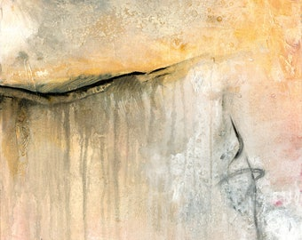 "Abstract Minimalist Painting, Creams, Gray, Black, White Art, Canvas Original Contemporary Modern ""A Gentle Whisper"" Kathy Morton Stanion"