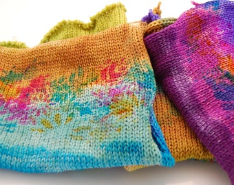 """Double Knit Sock blank- """"The Big O"""" colored stripes with stenciled flower overlay"""