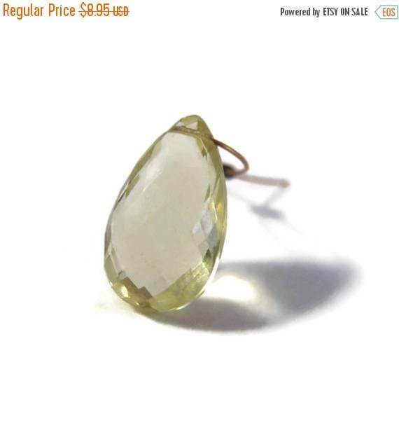 Summer SALEabration - One Sunny Lemon Quartz Bead, Single Natural Gemstone, Yellow Teardrop for Making Jewelry, 15.5mm x 9mm (L-Mix10b)
