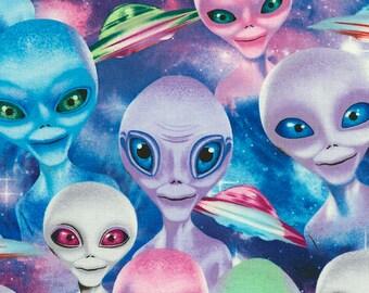 Timeless Treasures, Alien Selfies, Green aleins, Blue aliens and spaceships, 1 yard
