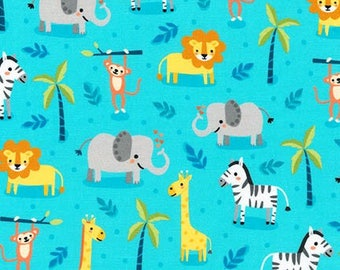"Safari Animals on Aqua blue by Pink Light Design, ""Safari Soiree ""  for Robert Kaufman, yard"