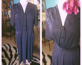 Vintage 1940s Dress Navy Blue Uniform nylon Swing Rockabilly Pinup L XL 40s 1950s 50s