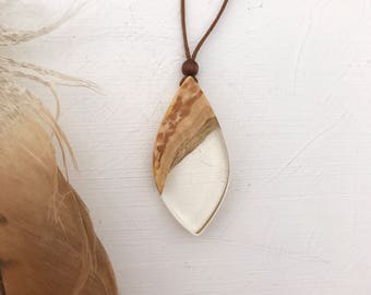Clear resin wood pendant, teardrop necklace, handmade, gloss finish