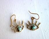 Turquoise Beholder Eye Dangle Earrings