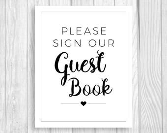 Please Sign Our Guest Book 8x10 Printable Black and White Wedding Ceremony Sign - Instant Download