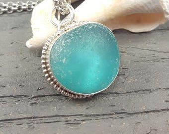 Aqua Sea Glass Necklace Aqua Blue Sea Glass Pendant Aqua Blue Beach Glass Necklace Sea Glass Jewelry - N-546