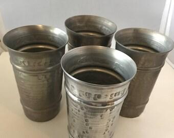 Set of 4 Vintage Hammered Aluminum Tumblers / Cups 1960