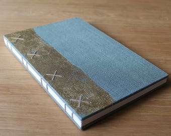 Large Coptic Bound Gold and Linen Wedding Guest Book in Sage Green