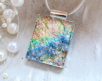 Dichroic Necklace, Dichroic Glass Pendant, Fused Glass Jewelry, Necklace Included, One of a Kind, A10