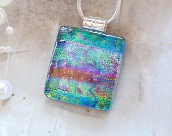 Green Necklace, Teal, Pink Dichroic Glass Pendant, Fused Glass Jewelry, Necklace Included, A5