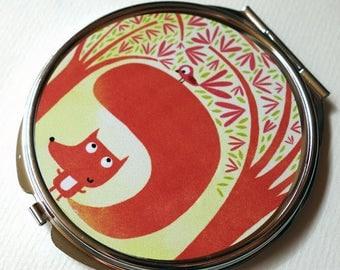 Pocket mirror, Fox and bird MPR132