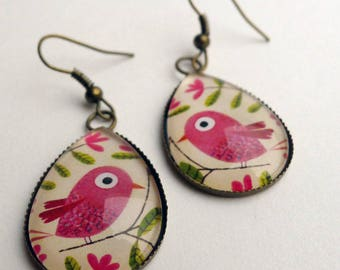 Drop earrings, bird pink BOG267B