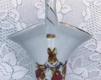 Beatrix Potter Peter Rabbit Mrs Rabbit Porcelain Basket