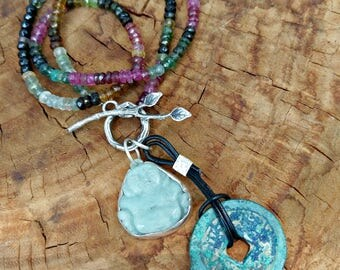 Buddha and Ancient Coin Necklace, Tourmaline Strand Necklace, Jade Buddha and  ancient coin Pendant, Yoga Jewelry