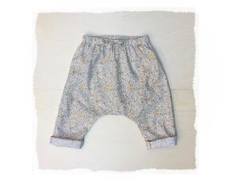 girls floral harem pants, baby print trousers, baby toddler cotton easy pants, Japanese cotton