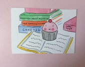 Final Sale original CakeSpy Mini Watercolor: Studious Cuppie