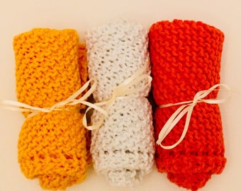 Handknitted Dishcloths - Brights and White - Set of 3
