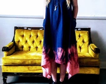 Linen dress in Navy dipped dyed hem Small or large left