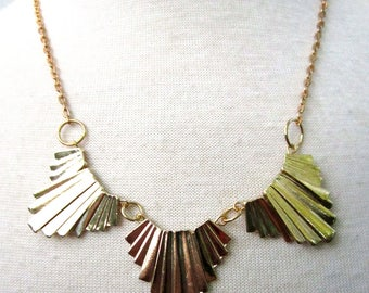 Assiette Necklace - gold art deco style geometric necklace