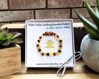 Raw & Unpolished Mixed Colored Beaded Natural Baltic Amber Teething bracelet or anklet. 5.5 inch. Safety-knotted with screw clasp. Gift Box