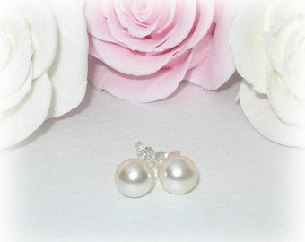 ON SALE 20% OFF Pearl Stud Earrings Bridal Wedding Jewelry Swarovski Sterling Silver Bridesmaids Accessories Ivory or White