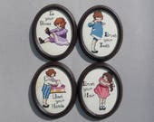 Vintage Cross Stitch Children Getting Ready Childs Room Decor Wash Your Hands Brush Your Teeth Brush Your Hair Tie Your Shoes Oval Frames