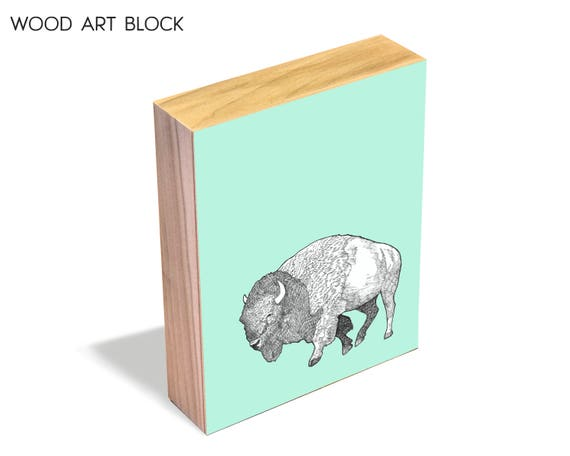 Bison - wood art block