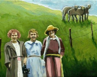 Women & Sheep farm landscape mixed media print from original oil painting