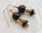 75% Off Clearance Sale, Black Lily Flower, Czech Glass, Gold Finish