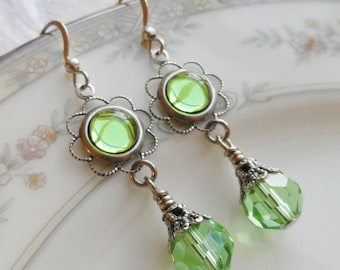 75% Off Clearance Sale, Peridot Green , Vintage Glass Cameo, Antique Silver Finish